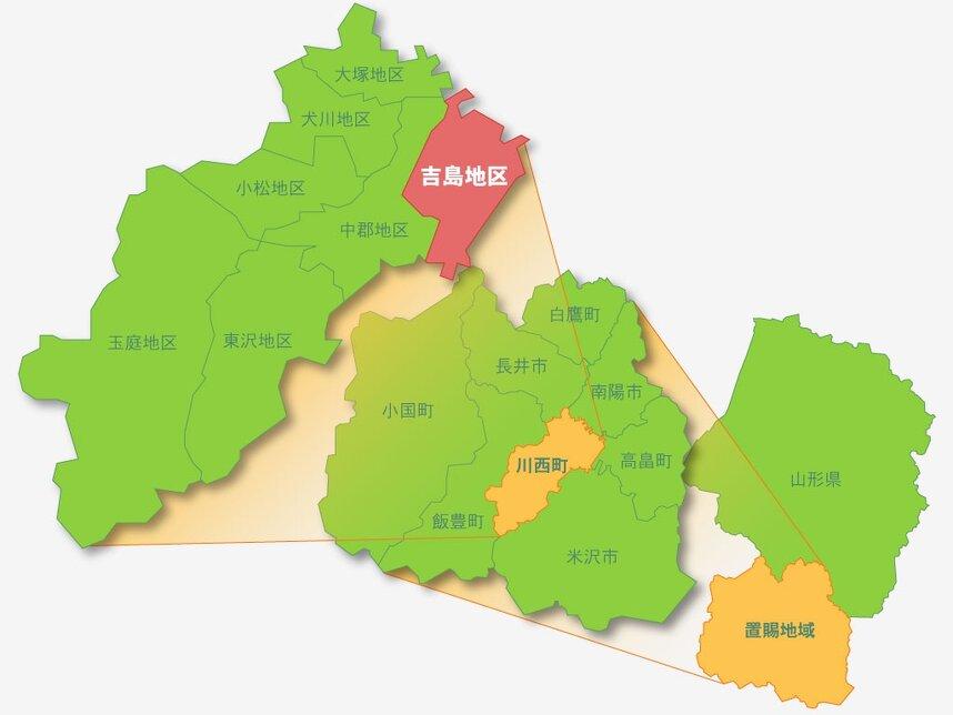 吉島地区の位置